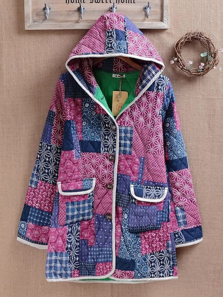 Ethnic Women Cotton Hooded Long Sleeve Pocket Button Patchwork Coat