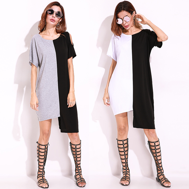 S-5XL Casual Women Off Shoulder Asymmetric Dress