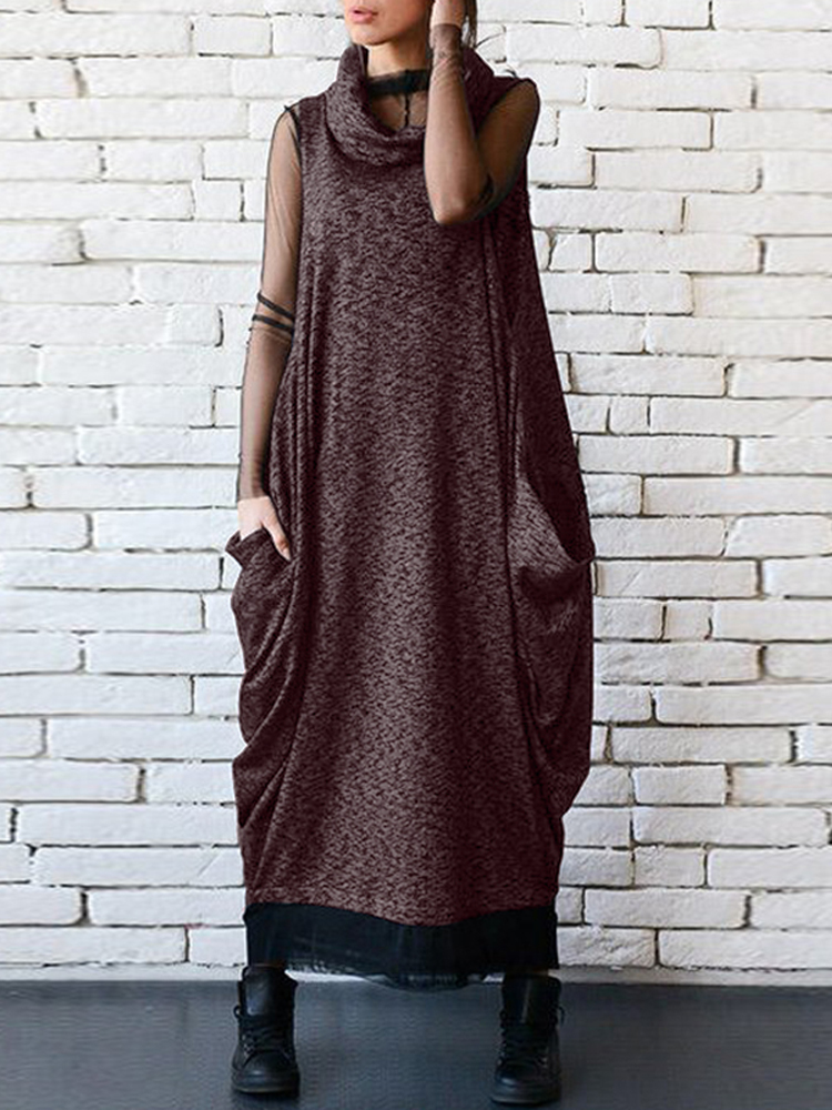 Women Casual High Neck Sleeveless Vintage Long Maxi Dress
