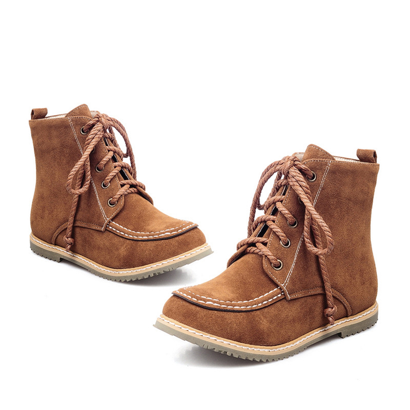 Casual Suede Lace Up Ankle Boots