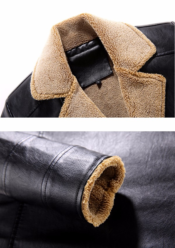 Mens PU Leather Thick Fleece Turn Down Collar Jacket Winter Motorcycle Windproof Coat