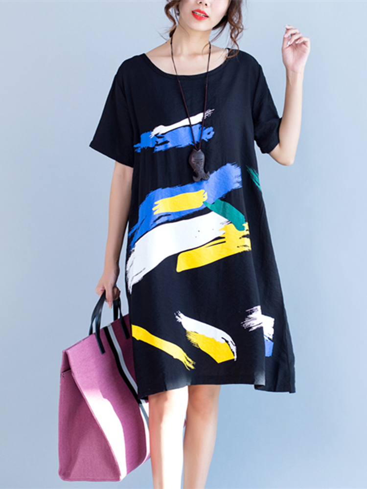 Vintage Women Short Sleeve Print Dresses