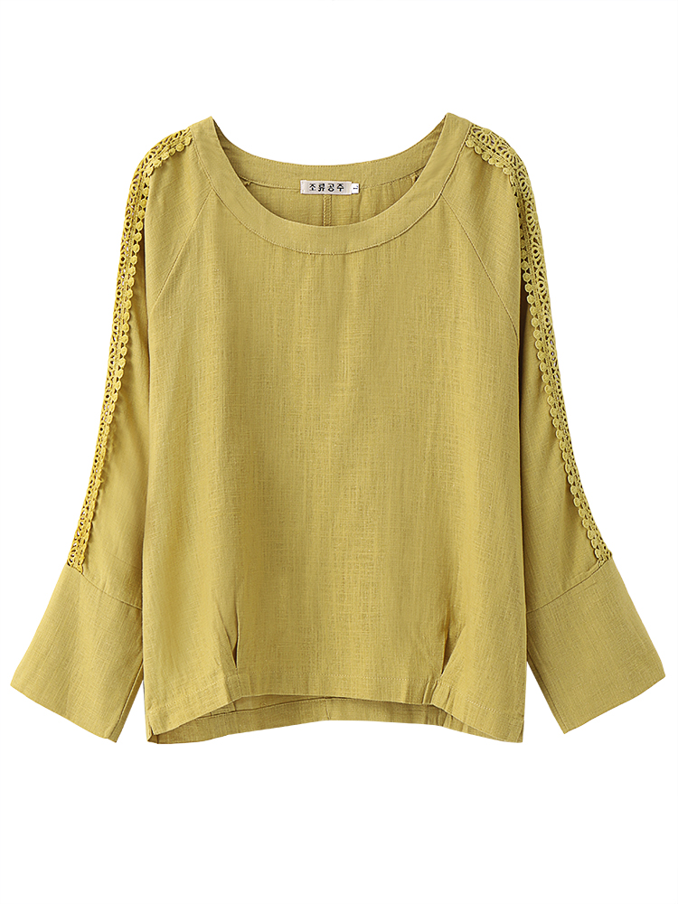 Vintage Solid Hollow Long Sleeve Loose Women Cotton T-Shirt