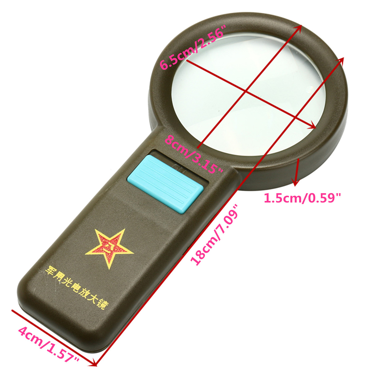10X LED Handheld 10X Magnifier Giant Large Magnifying Glass with White Light