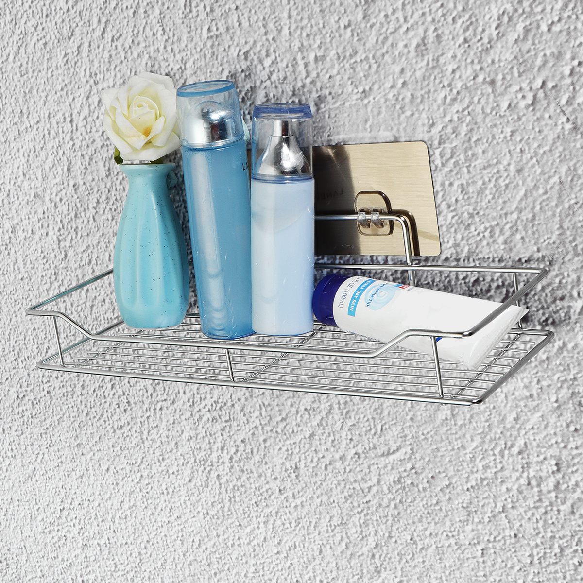 Stainless Steel Bathroom Kitchen Shower Shelf Storage Rack Non Rust Suction Basket Caddy Tidy