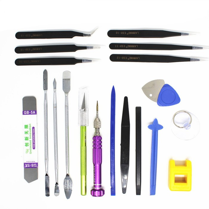 20 in 1 Professional Repairing Opening Screwdriver Tools Tweezers Pry Spudger Screwdriver Tool Kit for iPhone 4s 5s 6s iPad Samsung Surface Tablet