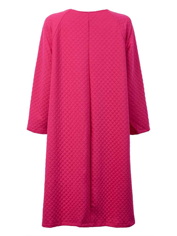 Elegant Women Pure Color Texture Quilted Long Loose Coat