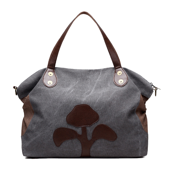 Large Capacity Women Canvas Patchwork Flower Pattern Casual Handbag