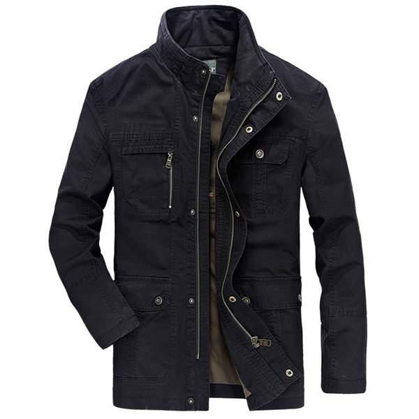 Military Stylish Multi Pocket Zipper Button Stand Collar Cotton Outwear Jacket for Men