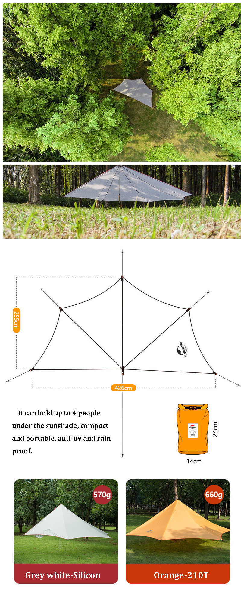 Naturehike Tent Sun Shelter Pentagon Canopy Awning Sunshade Outdoor Camping Anti-UV Waterproof Shade-shed