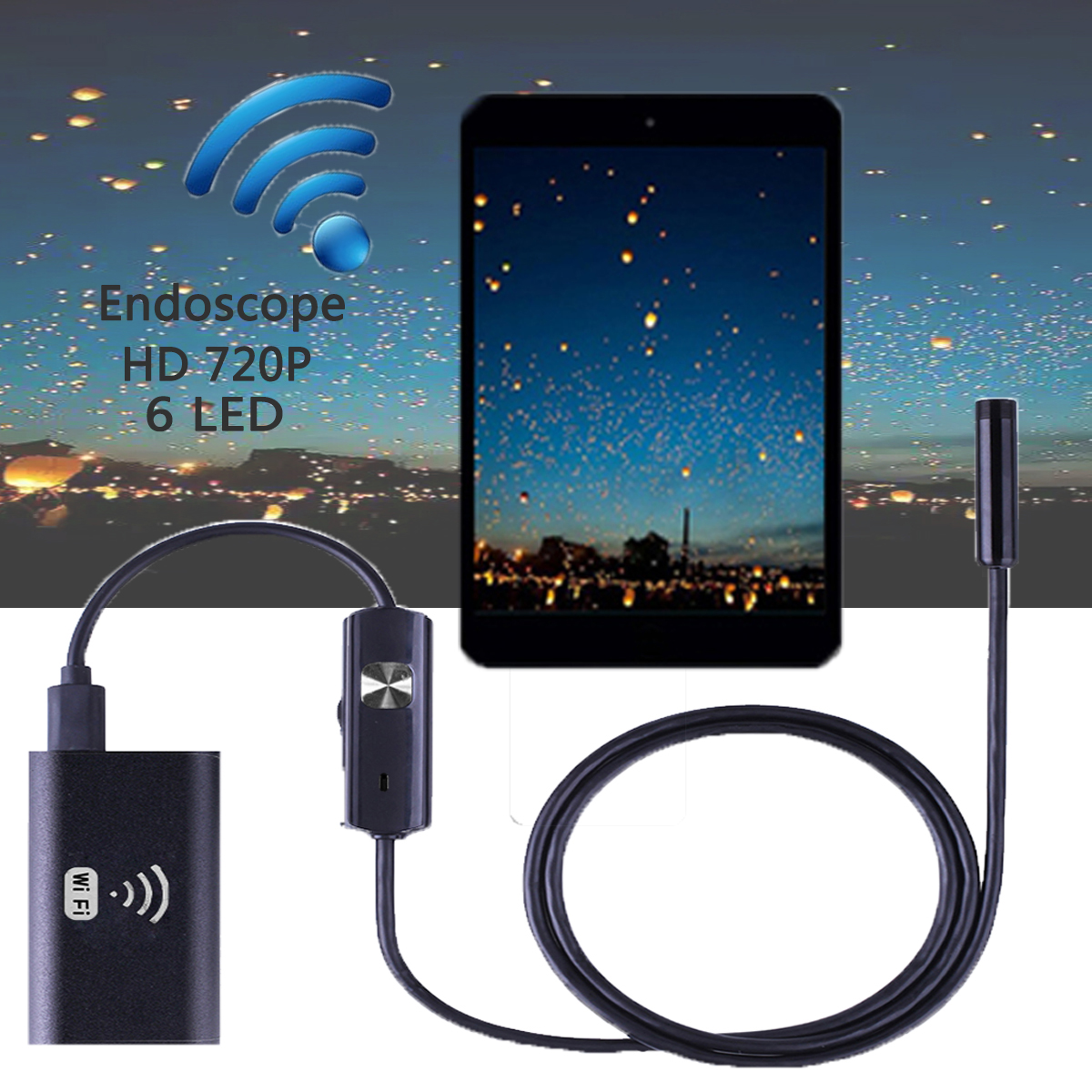 Waterproof 6 LED WIFI Endoscope Borescope Inspection Camera for iPhone Android