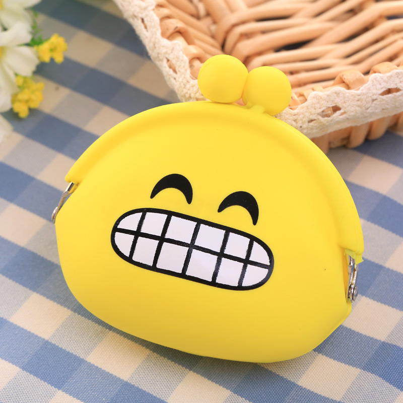Emoji Silica Gel Coins Bag Round Emotion Smiley Doll Makeup Storage Pouch Handbag