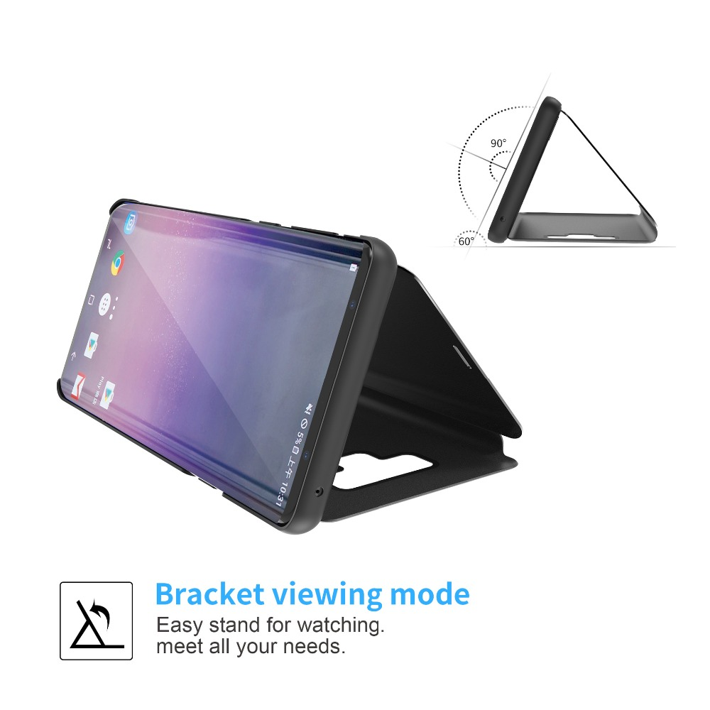 Bakeey Smart Sleep Window View Bracket Protective Case For Samsung Galaxy Note 9 Plating Mirror Magnetic Flip