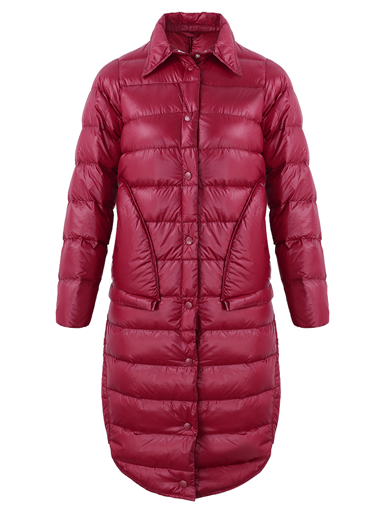 Casual Solid Color Long Sleeve Mid-long Light Down Coats