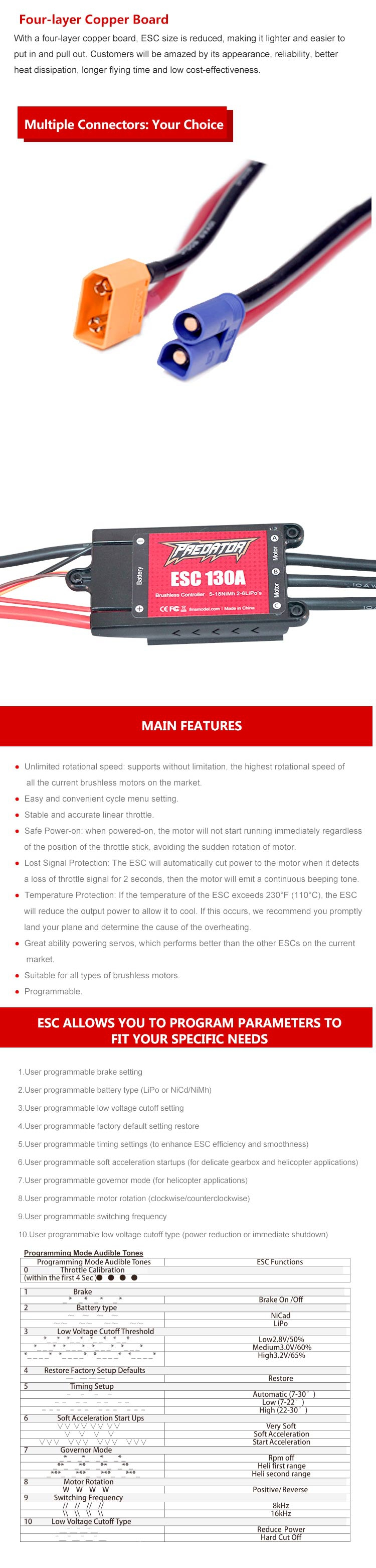 FMS Predator 130A Brushless ESC XT90 With 10A Switch BEC/Without BEC for RC Airplane - Photo: 2