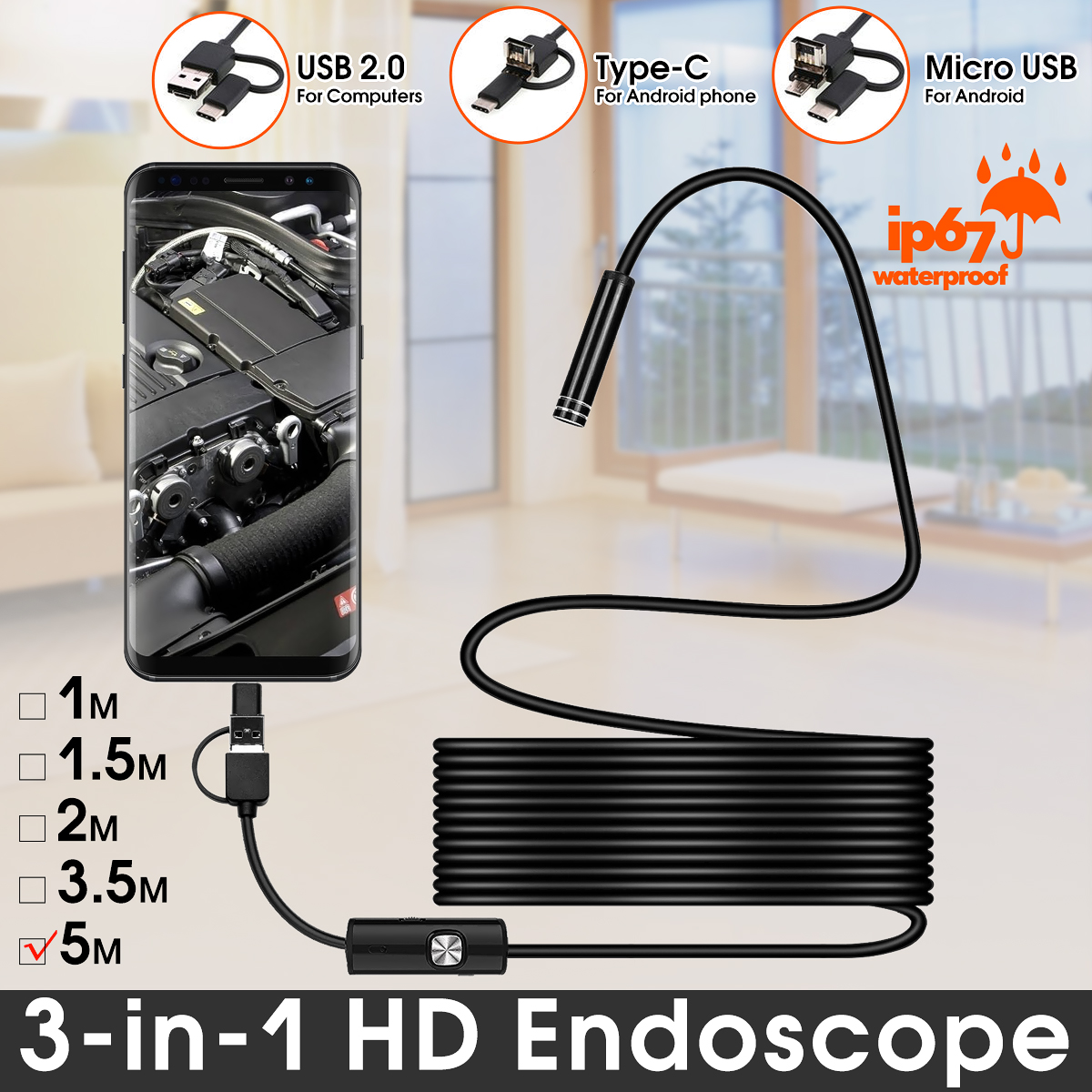 Bakeey 3 in 1 7mm 6Led Type C Micro USB Endoscope Inspection Camera Soft Cable for Android PC