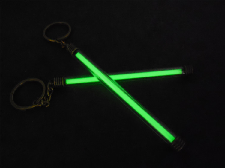 Copper + Acrylic Tritium Vials Keychain Self-luminous 15-Years 5x100mm