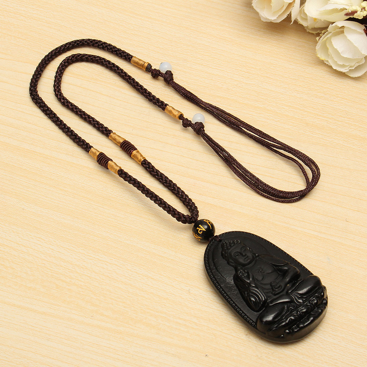 Chinese Obsidian Carved Buddha Pendant Necklace Jewelry