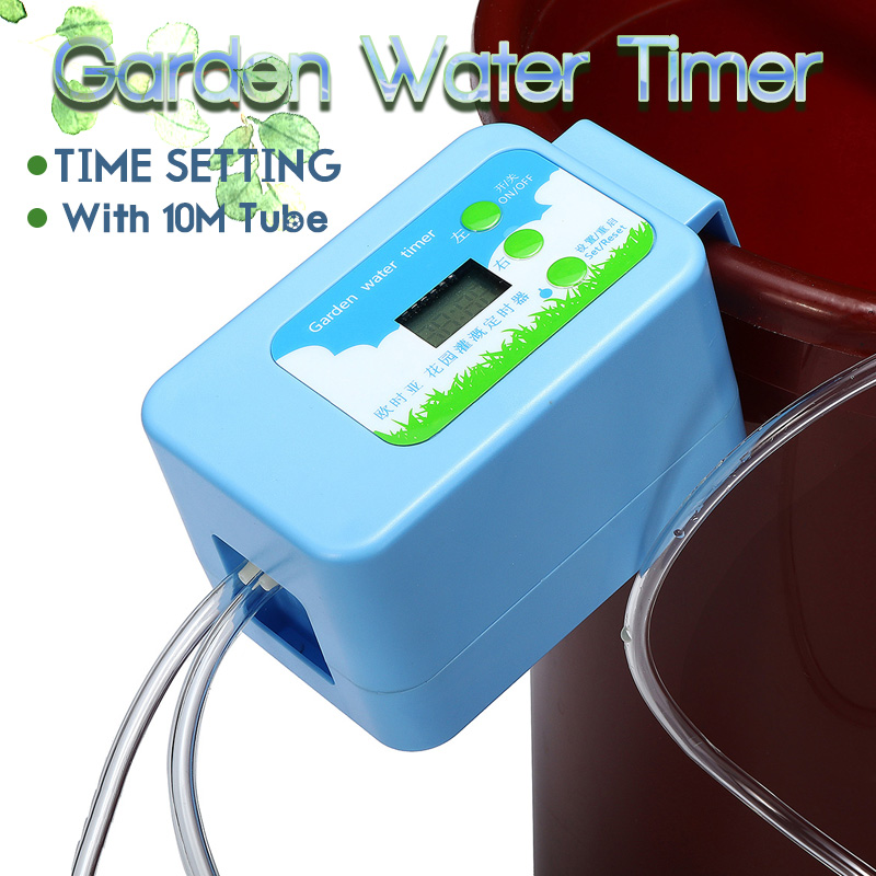 Garden DIY Micro Drip Auto Irrigation Timer Self Plants Flowers Water Control System with 10M Hose