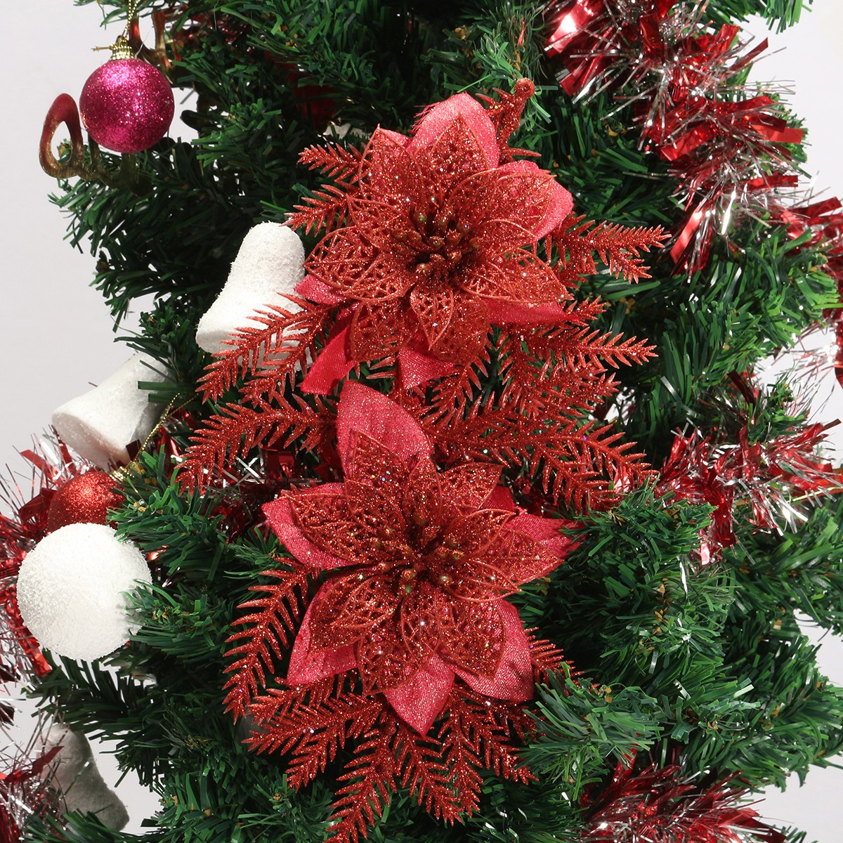 Glitter Artificial Christmas Tree Flowers Ornament Pendant Xmas Party Decoration