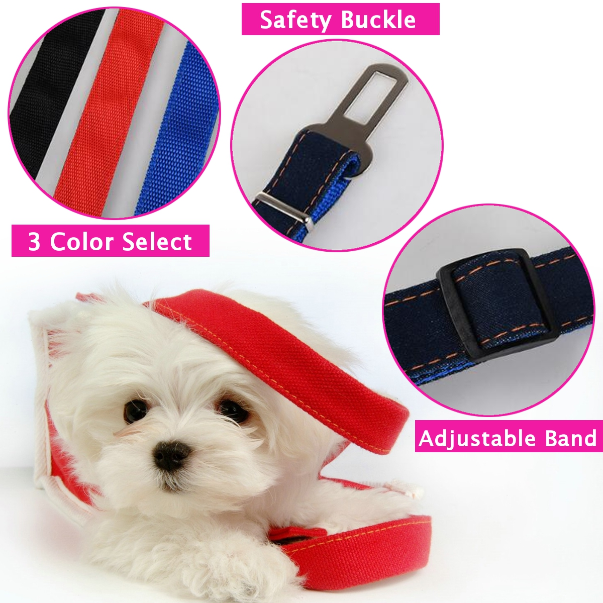 Dog Pet Car Safety Seat Belt Harness Restraint Lead Leash Travel Clip Dogs Supplies Accessories for Travel Seat Belts