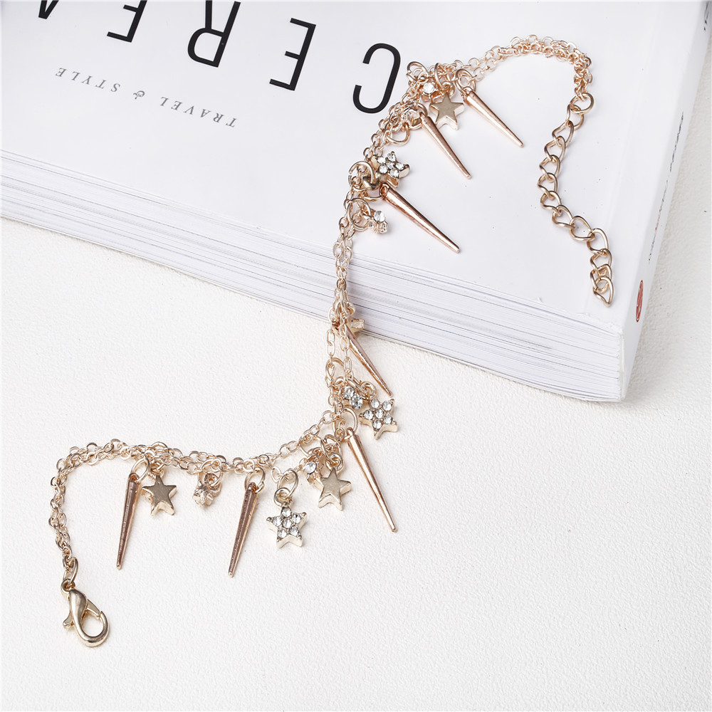 Fashion Sweet Gold Anklet Stars Tassels Two-layer Chain