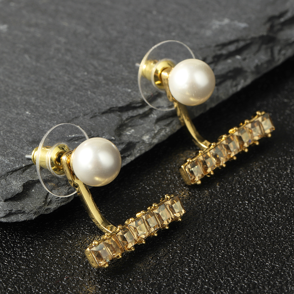 Luxury Pearl Rhinestones Silver Earring Cute Ear Jacket Stud