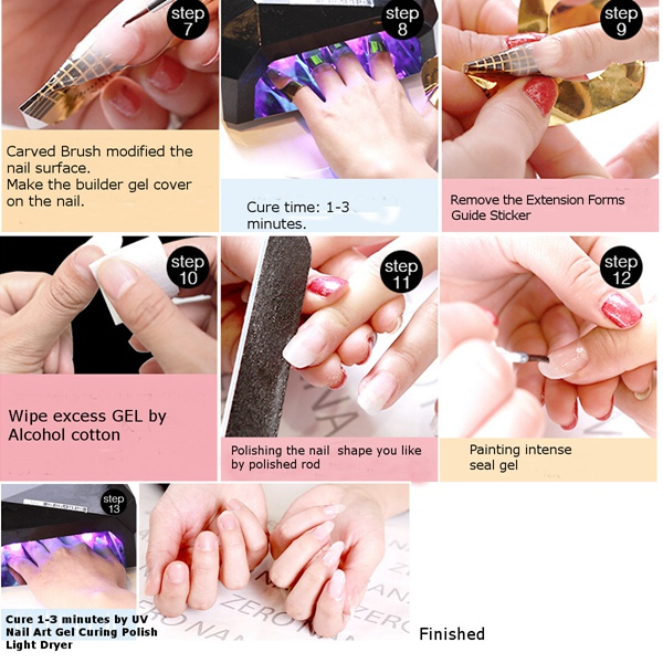 Nail Art 3 Colors UV Gel Extension Builder Glue White Pink Clear Manicure