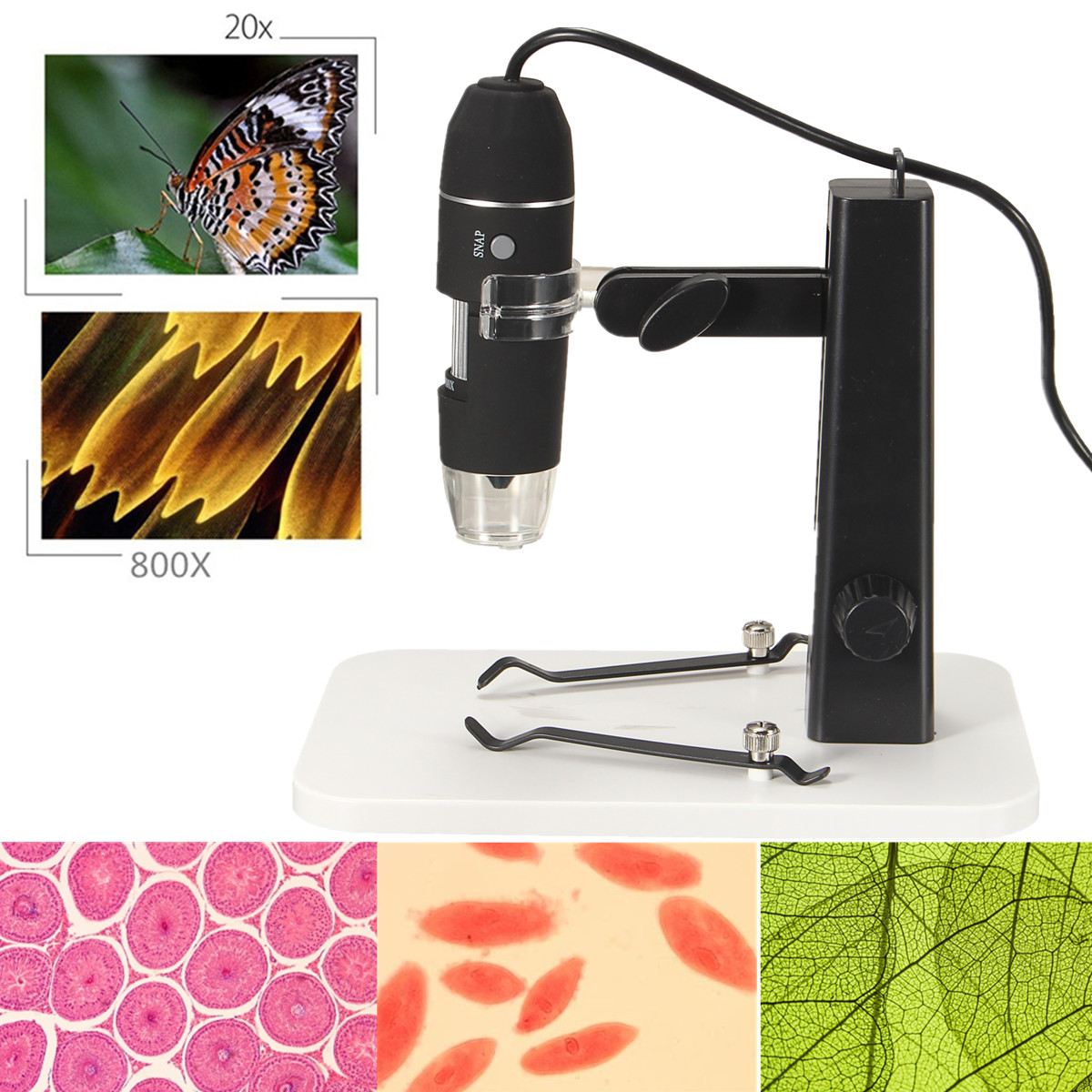 800X HD Digital USB Microscope 2.0MP CMOS Microscope Camera with 8 LED Adjustable Adjustable Stand