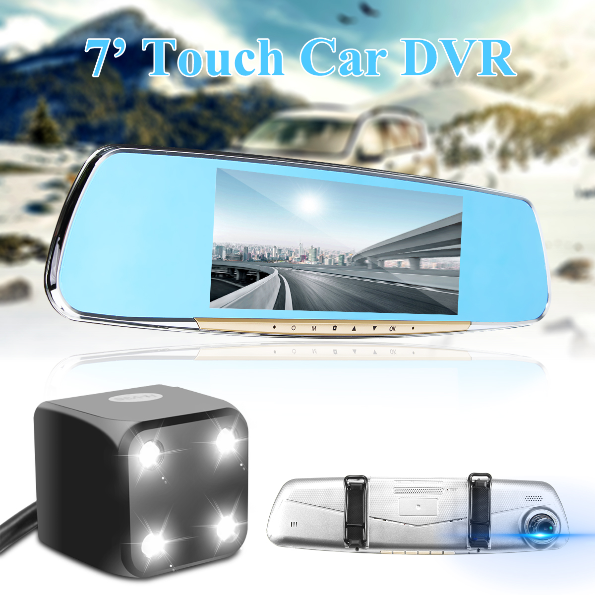 H15 7 Inch Touch Car DVR Dual Lens Android 4.5 With WIFI bluetooth Handsfree And GPS