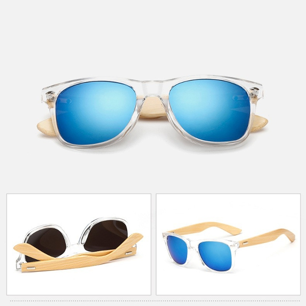 UV400 Retro Classic Sunglasses Outdoor Radiation Protection Glasses Bamboo Wood Legs Eyewear