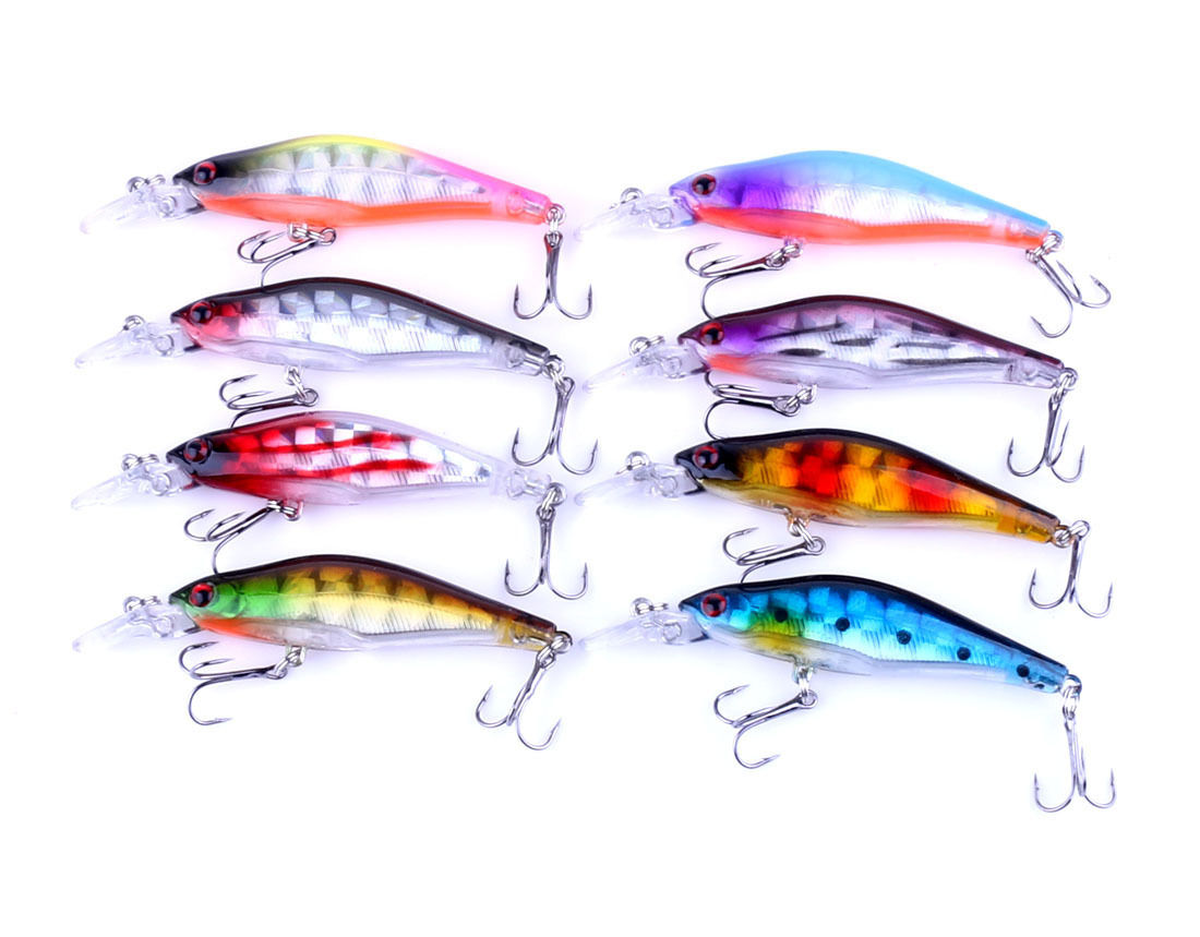 ZANLURE 8pcs 8cm Floating Wobblers Minnow Fishing Lures Crankbaits Hooks Bass Tackle