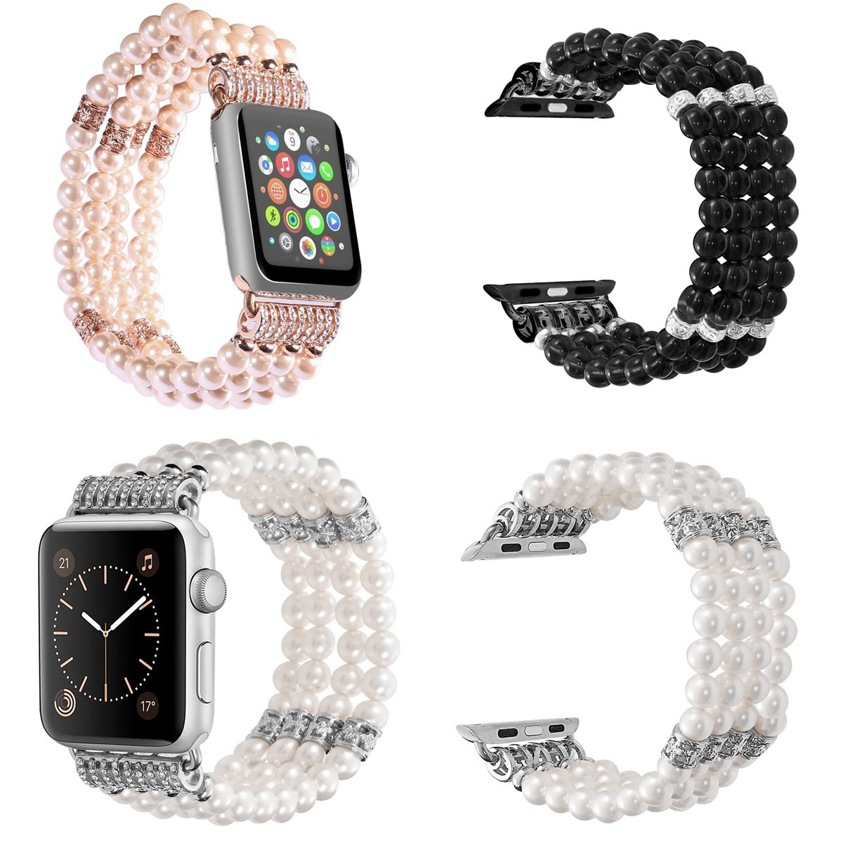 Pearl Beads Bracelet Watch Band Strap for Apple Watch i