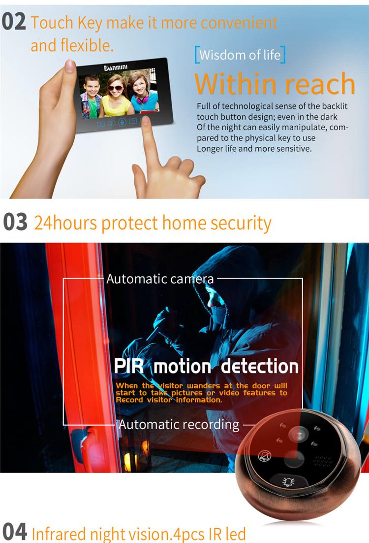 Danmini YB-43HD-MT Digital Peephole Viewer Camera 2MP 4.3 inch IR Night Vision Video PIR Door Bell