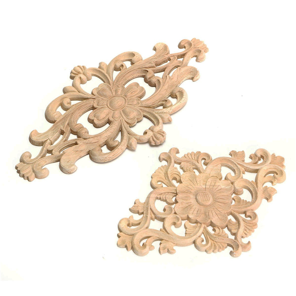 Unpainted Wood Oak Carved Onlay Applique Furniture Home Decor 21x11cm/28x15cm