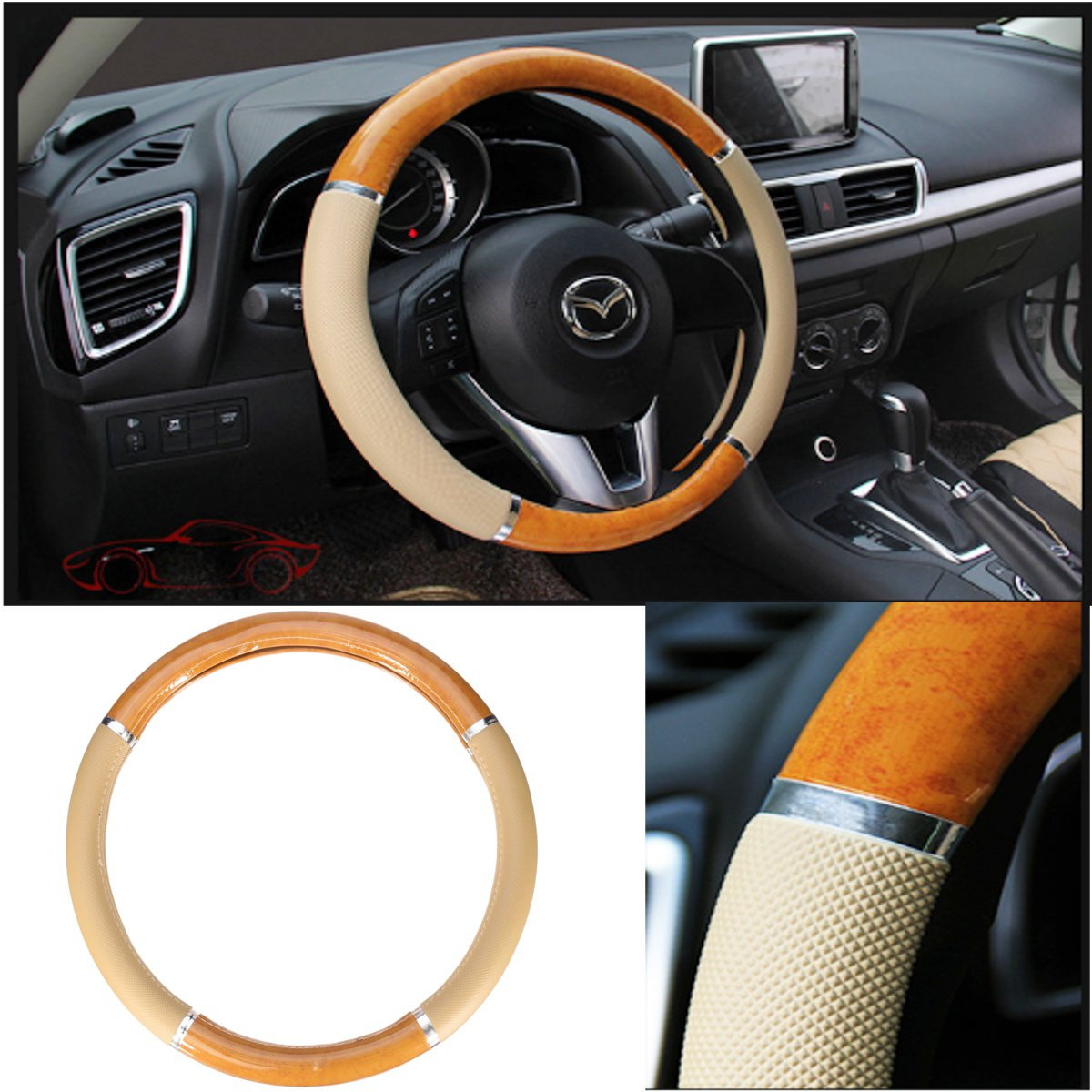Steering Wheel Cover Luxury Nonslip Wood PU Leather for Car Truck SUV 38cm