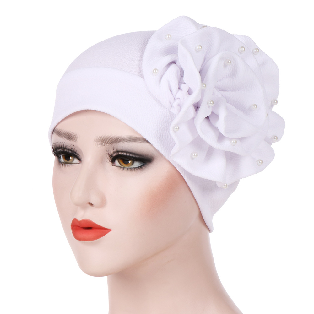 Women Hand Sewing Big Flower Nail Pearl Turban Cap