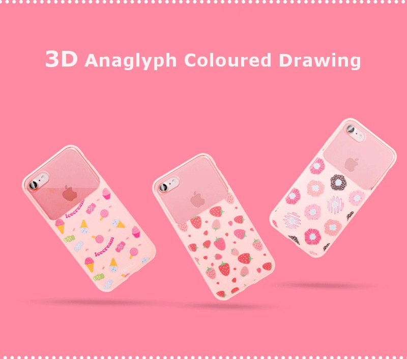 Remax 3D Anaglyph Colored Drawing Soft TPU + PC Shockproof Cover Case for iPhone 7 plus