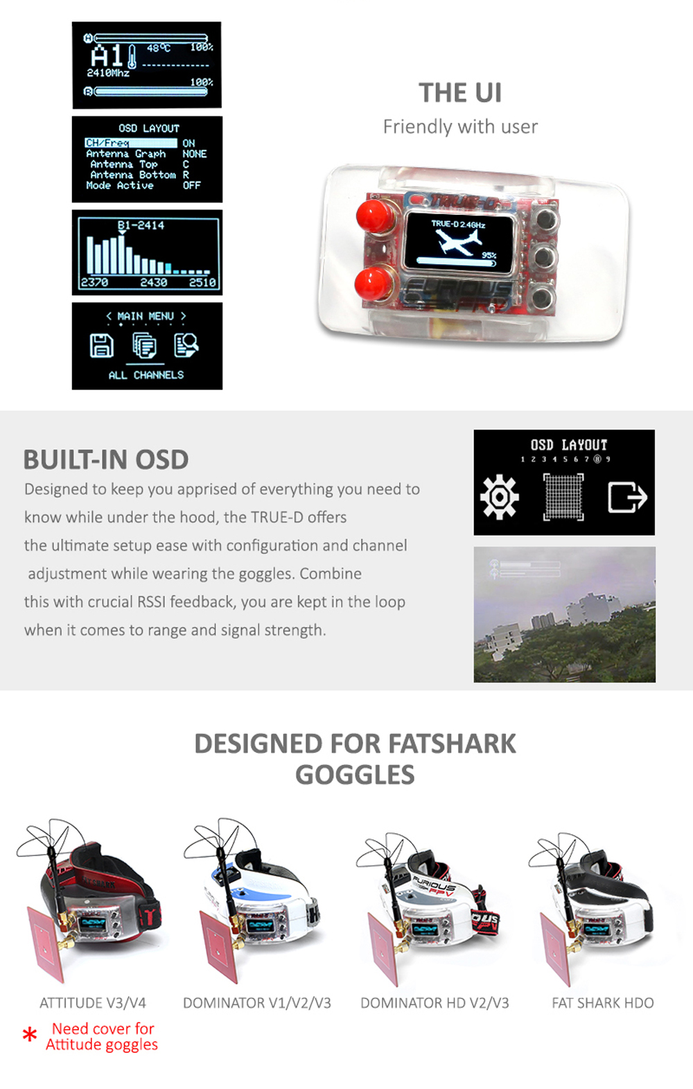 Furious True-D 2.4 GHz Diversity Receiver System Clarity Redefined for Fatshark Goggles - Photo: 2