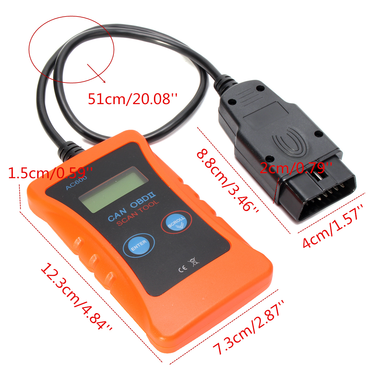 AC600 OBD2 OBDII Car Fault Diagnostic Scanner Tool Handheld Kit