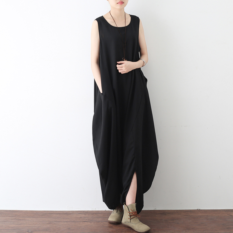 Women Sleeveless Pockets Loose Baggy Long Jumpsuit
