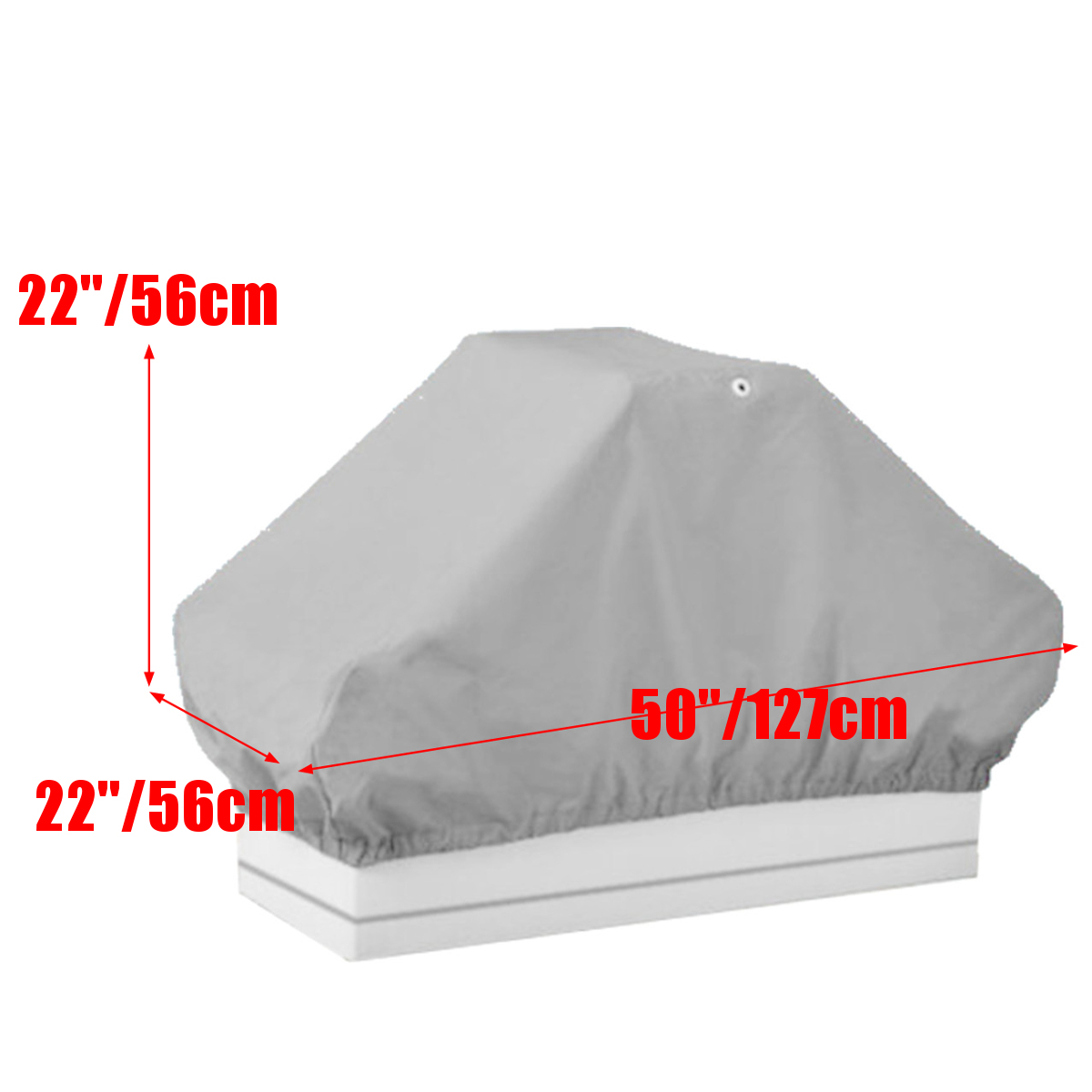 50inx 22inx 22in Grey Waterproof Boat Pontoon Back-to-Back Lounge Double Seat Cover