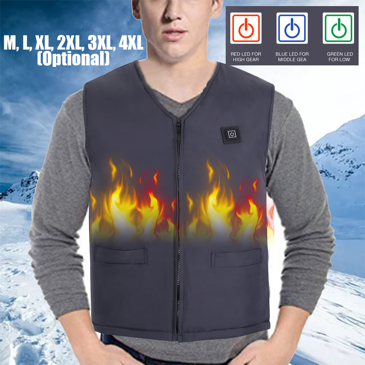 USB Unisex Electric Heated Vest Moorcycle Heating Winter Warm Up Hot Jacket Coat