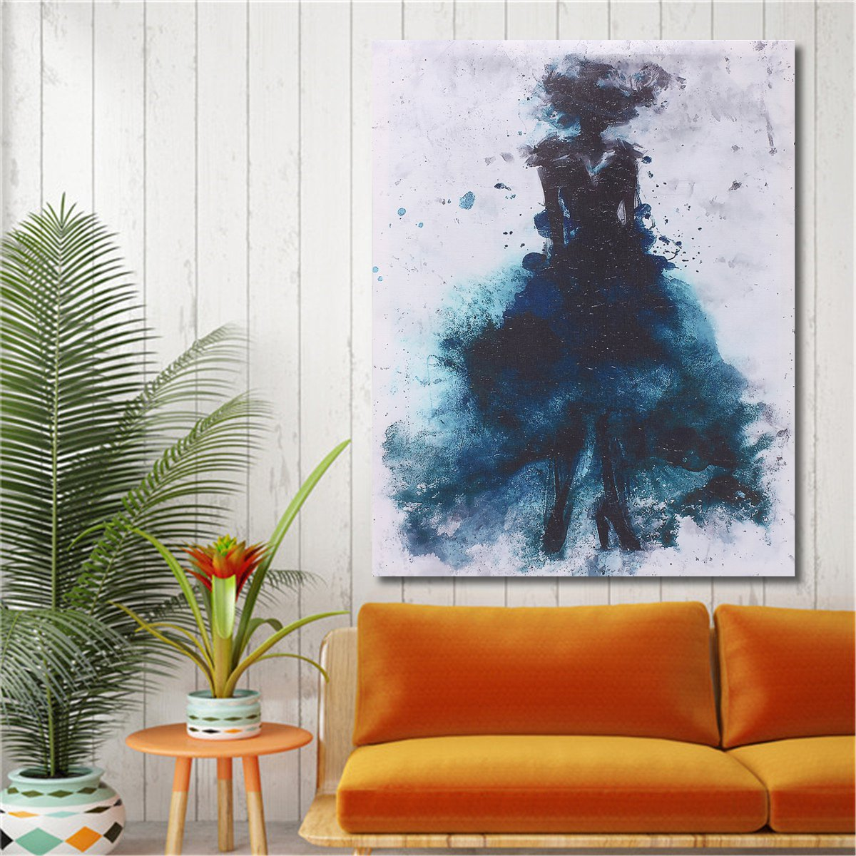 Fashion Green Girl Minimalist Abstract Art Canvas Oil Print Paintings Framed/Unframed