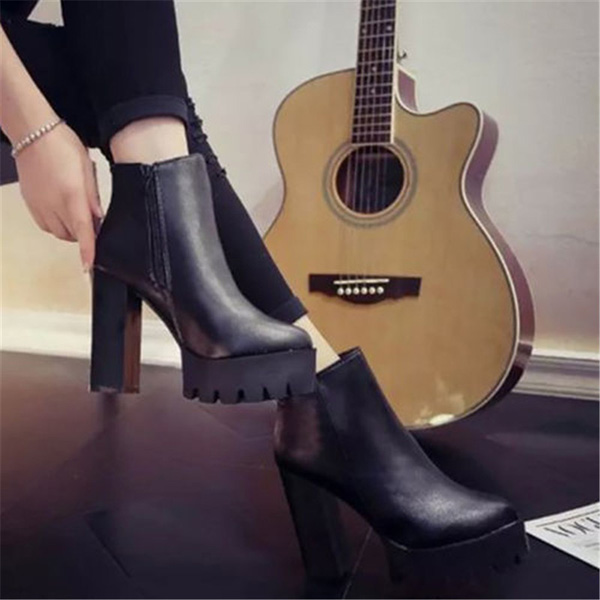 Women Casual Platform High Heel Ankle Boots Fashion Faux Leather Shoes Black Zipper Boots