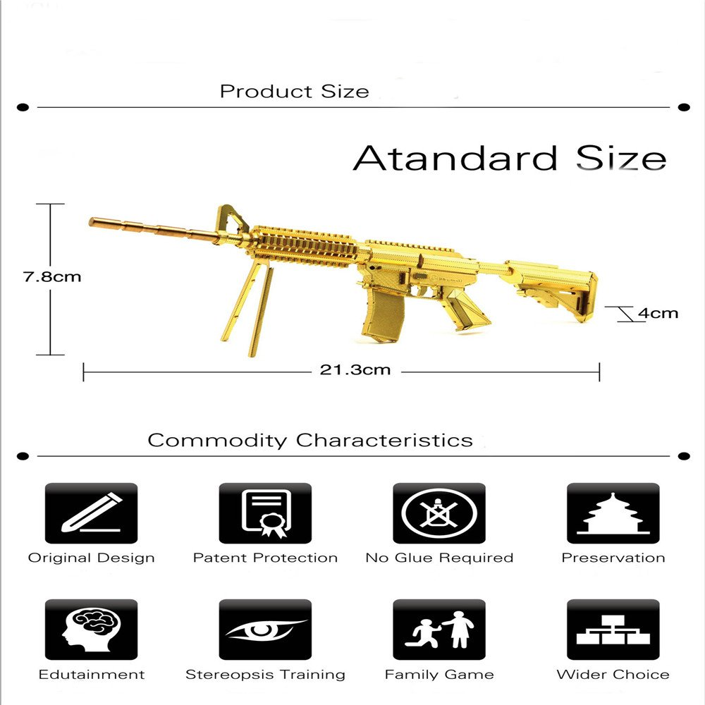 Aipin DIY 3D Metal Puzzle Golden Carbine Weapon Stainless Steel Model Building Kit Collection Gift