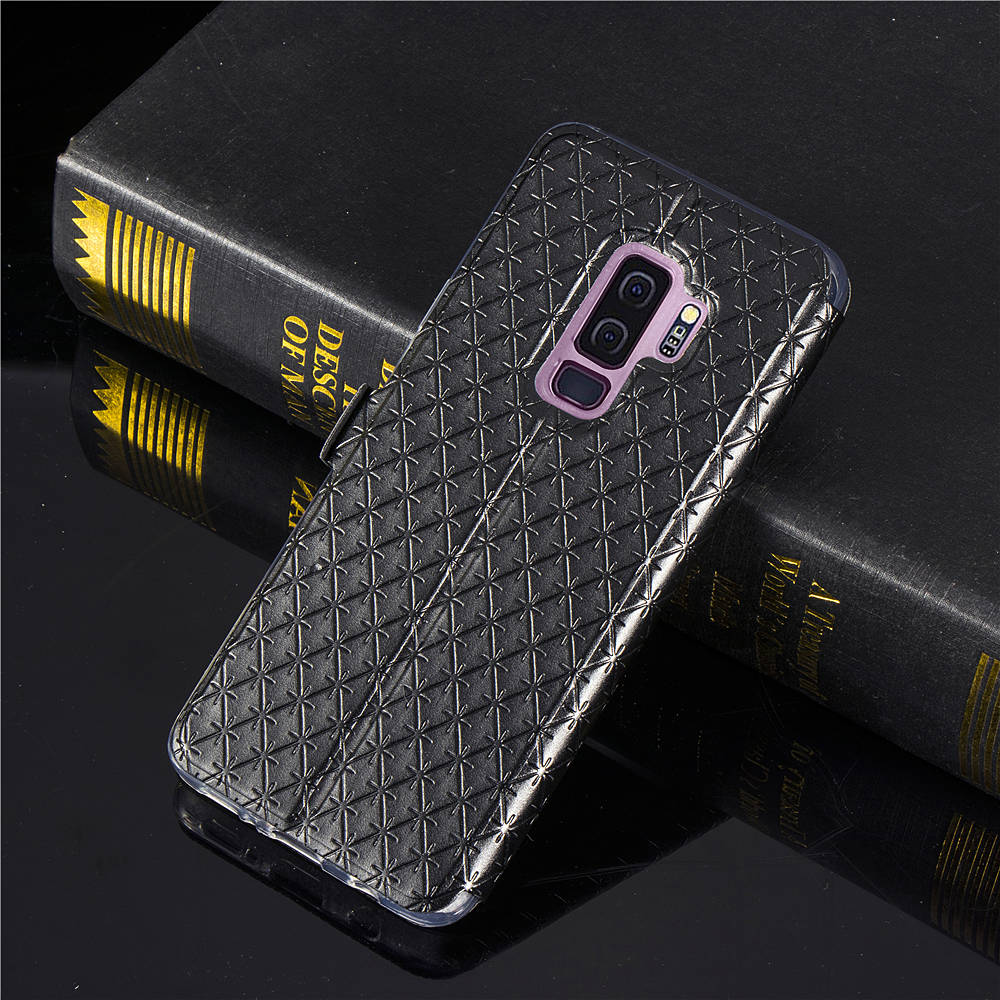 Window View Magnetic Flip Bracket Card Slot TPU Leather Protective Case for Samsung Galaxy S9 Plus