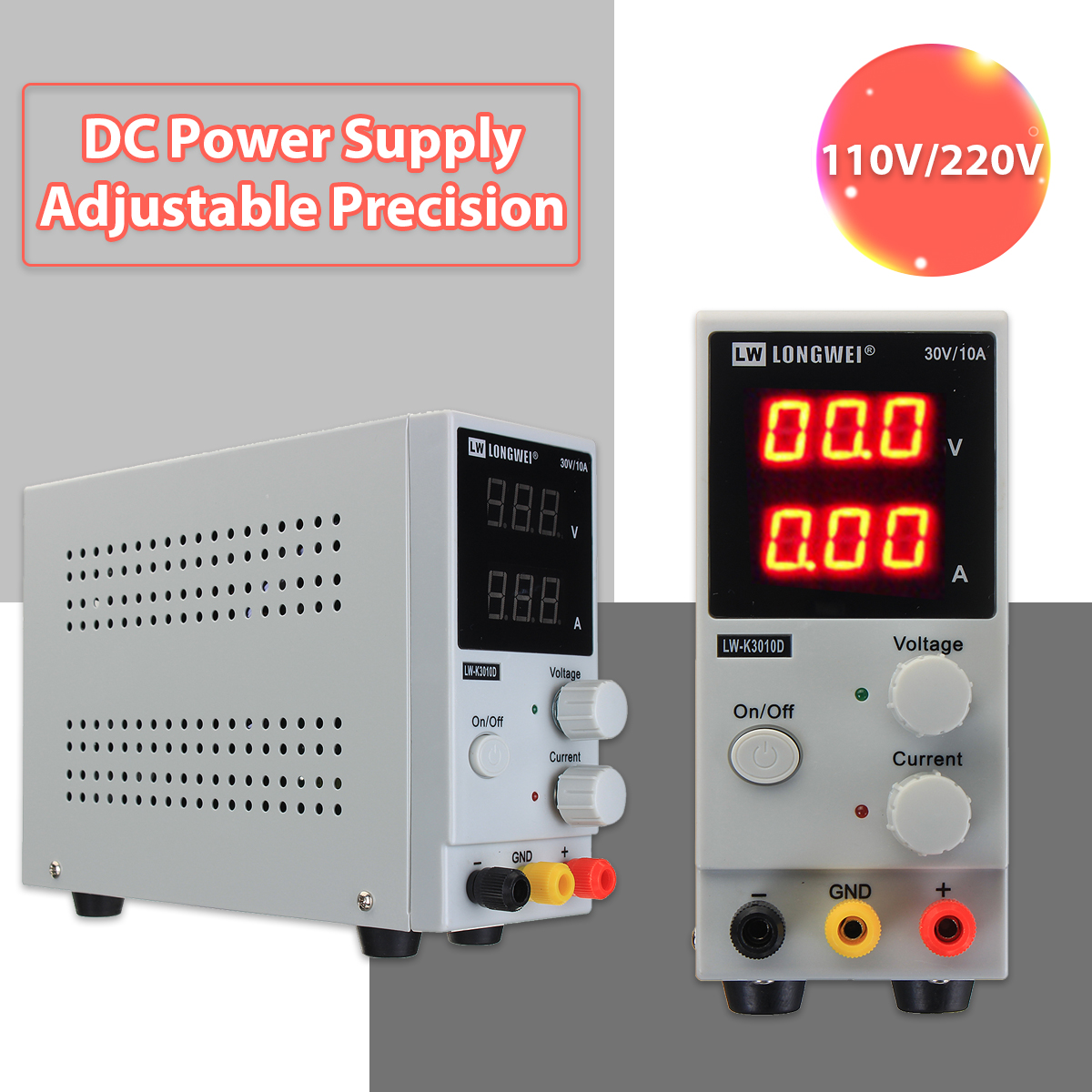 LONG WEI® LCD DC Power Supply 220V 0-10A 0-30V Regulated Digital Switching Power Supply