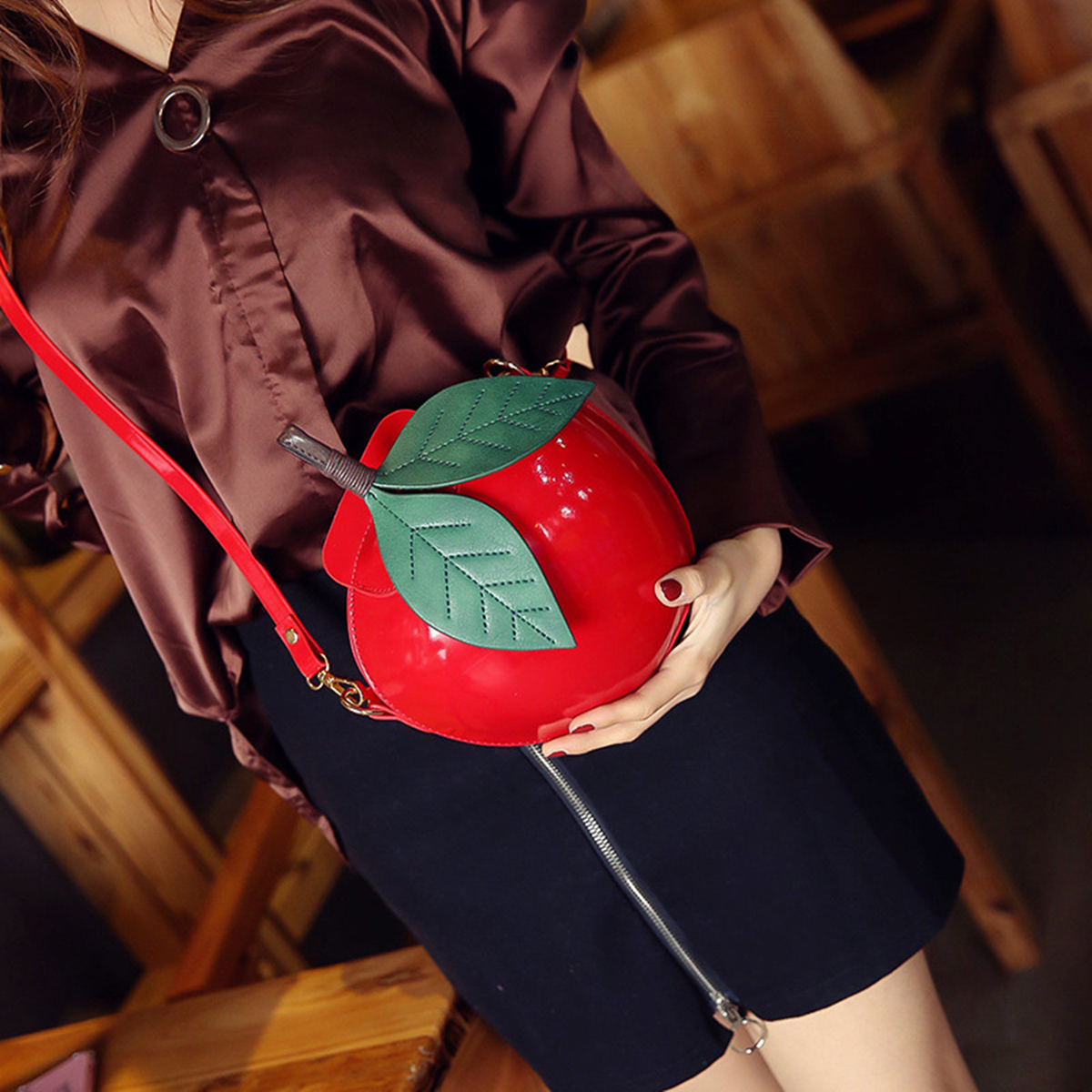 Women Apple Bag Phone Clutch Purse Shoulder Messenger Handbag Party Wedding Fashion