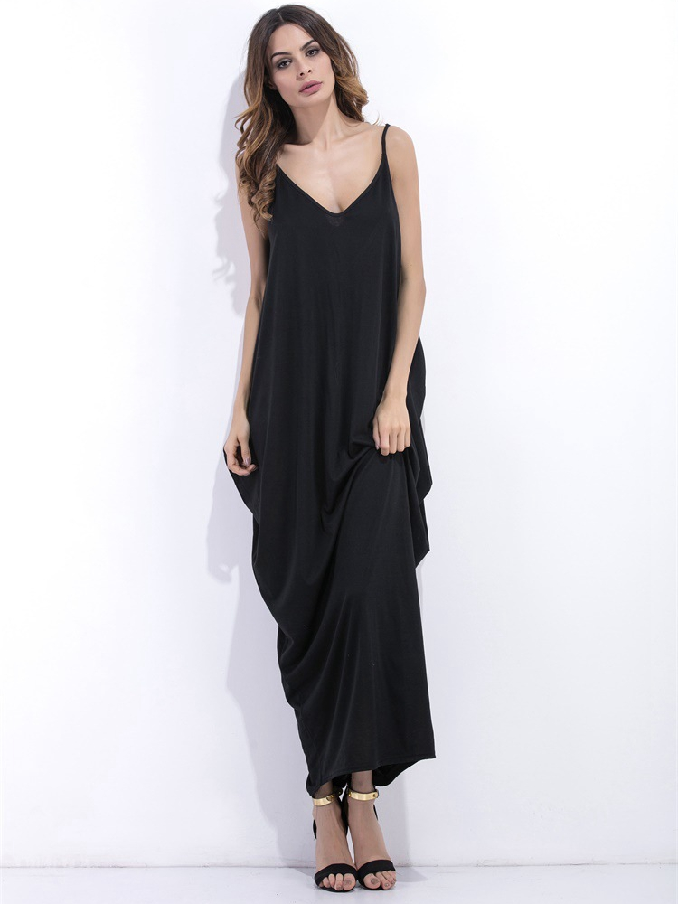 Black Sexy Sleeveless V-neck Backless Women Maxi Dresses